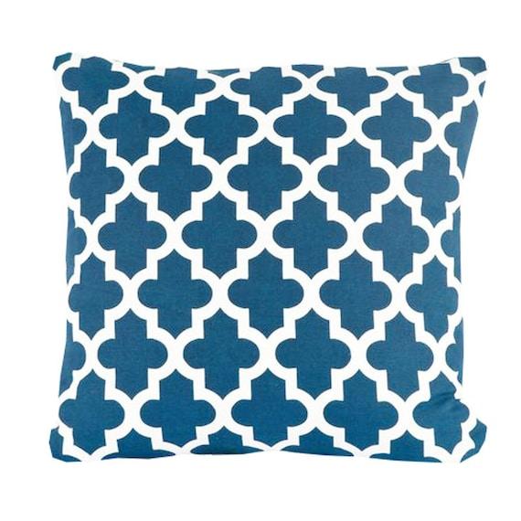 Blue Lattice Throw Pillow : Items similar to Decorative Throw Pillow Cover Blue Pillows Geometric Lattice Navy Blue Home ...