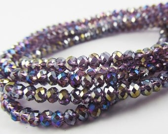 38 pcs Faceted Glass Rondelle Rondel C12 Lilac AB Purple 10mm loose beads spacer glass rondels