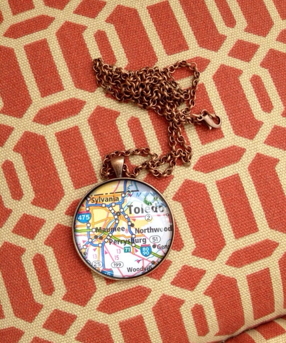 Personalized State Love Map Glass Pendant