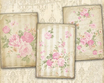Vintage Greeting Cards Gift Tags on Digital Collage Sheet best for paper craft, paper goods - OLD PAPER FLOWERS