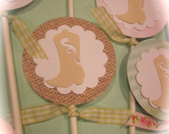 Cowgirl Cupcake Toppers cowboy boots