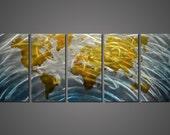 Modern Abstract Painting Metal Wall Art Sculpture World Map