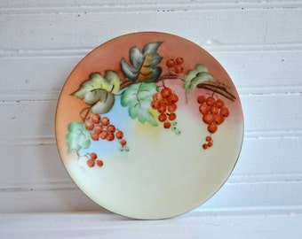 Vintage Thomas Severs Bavaria Plate | Artist Signed | Hand Painted | Grape Pattern | French Country Cottage |
