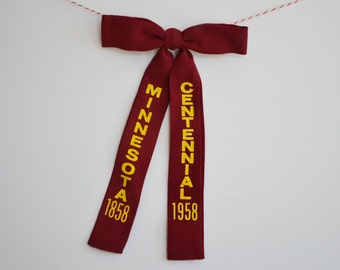 Vintage Minnesota Centennial Bow Tie 1858~1958 Maroon and Gold