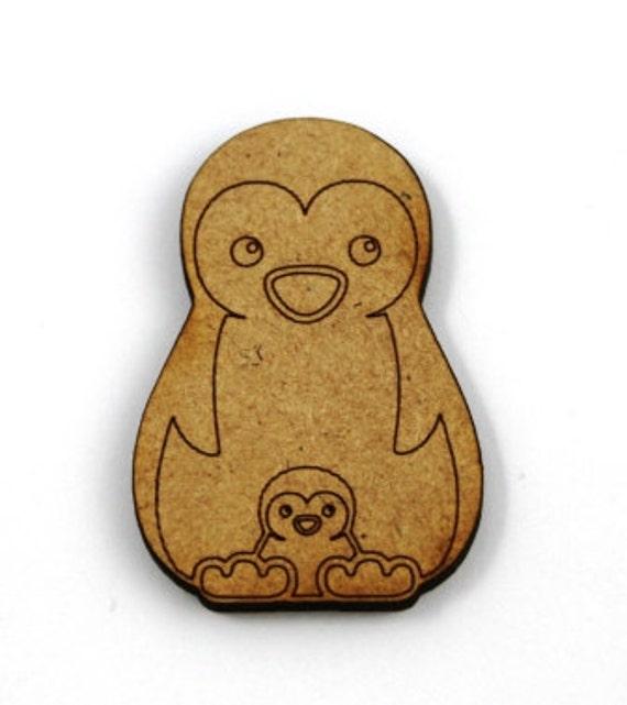2 Medium Craft Wood Penguin and Chick, Scrap Booking,30 mm wide, lasercut wood