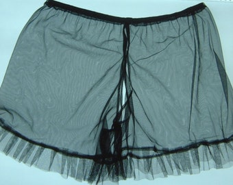 sheer black nylon pleated tulle crotchless tap panties vintage burlesque style fetish