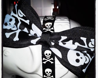 Wide Black and White Skull and Crossbones Center with Black Ribbon Trim