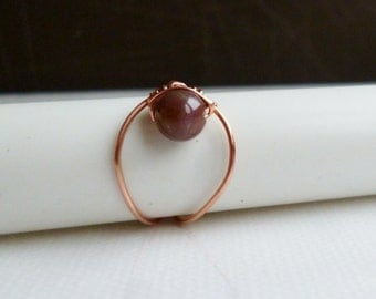 Wire wrapped brown agate stone Ring , US size 6 1/2