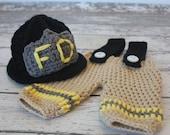 Crochet Fireman / Firefighter Helmet and Pants set with Suspenders