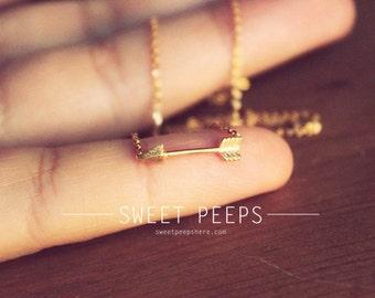 Gold Tiny Arrow Necklace