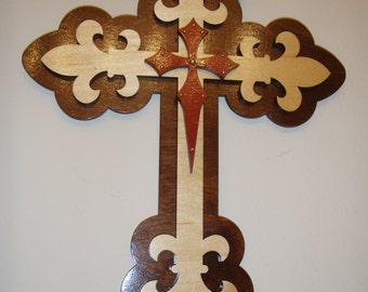 Fleur De Lis Cross Fancy Layered Wood Wall Decoration 12 x 15 inch