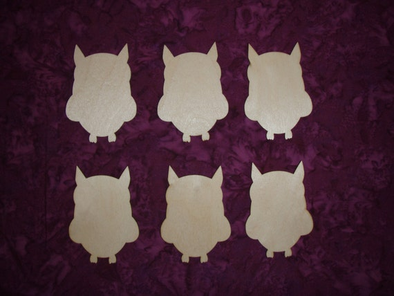 Owl wood cut outs unfinished wooden owls craft shapes 6 pieces for Unfinished wood pieces for crafts