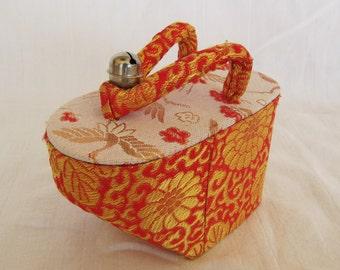 Vintage  Japan Geta Container Box Brocade Red Orange Gold