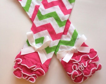 Baby girl legwarmers- baby leg warmers - Pink and Green Chevron print Legwarmers - toddler legwarmers