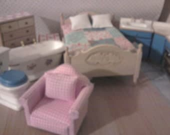 Dollhouse furniture kitchen bedroom bathroom and living room/ lounge set a 4 room furniture starter kit. custom made + get Towel rail  Free