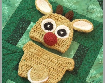 Baby Rudolph the Red Nose Reindeer Hat and Diaper Cover Pattern ... Instant Download