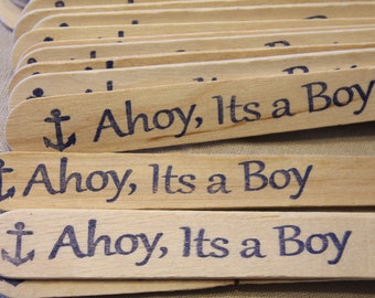 20 Ahoy, Its a Boy!    Nautical Baby Shower Wooden Party Cutlery