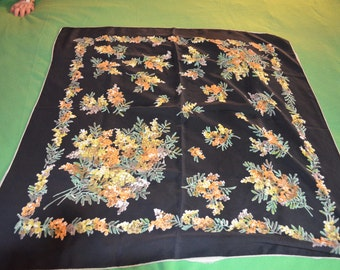 ON SALE   Scarf From the 50s Black with Yellow & Orange Flowers