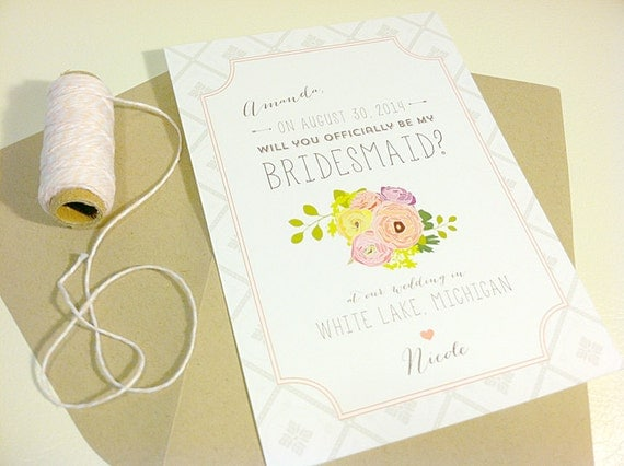 Will You Be My Bridesmaid Cards / Personalized / Custom Bouquet / Printed
