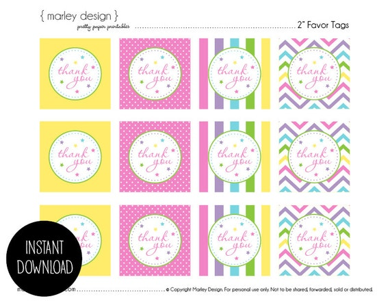 Monster image inside free printable thank you tags for birthdays