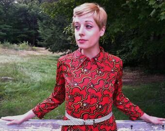 SALE Vintage Mod Red Dress