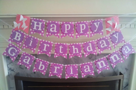 items similar to pink and purple dot birthday banner with childs name on etsy
