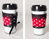 Dress your cup - Handmade glamorous corset sleeve coffee by Titelle Couture - color RED polka WHITE dots