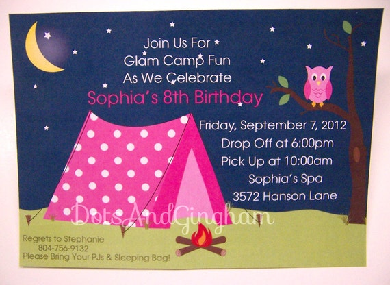Glam Camp Invitation Glam Camping Invitation Glamping