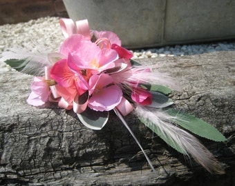 Pink Hydrangea Flower Corsage, Weddings, Proms and Events.