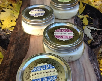 Holiday Soy Candle set of 4- 8 oz wide mouth mason jar candles- Holiday Soy Candle set- Christmas Soy Candle Set- Hostess gifts