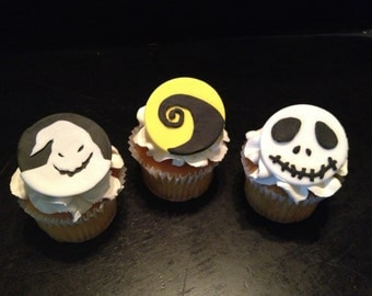 Nightmare Before Christmas Inspired Fondant Cupcake Toppers