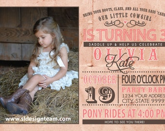 Cowgirl Birthday Party Invitation photo