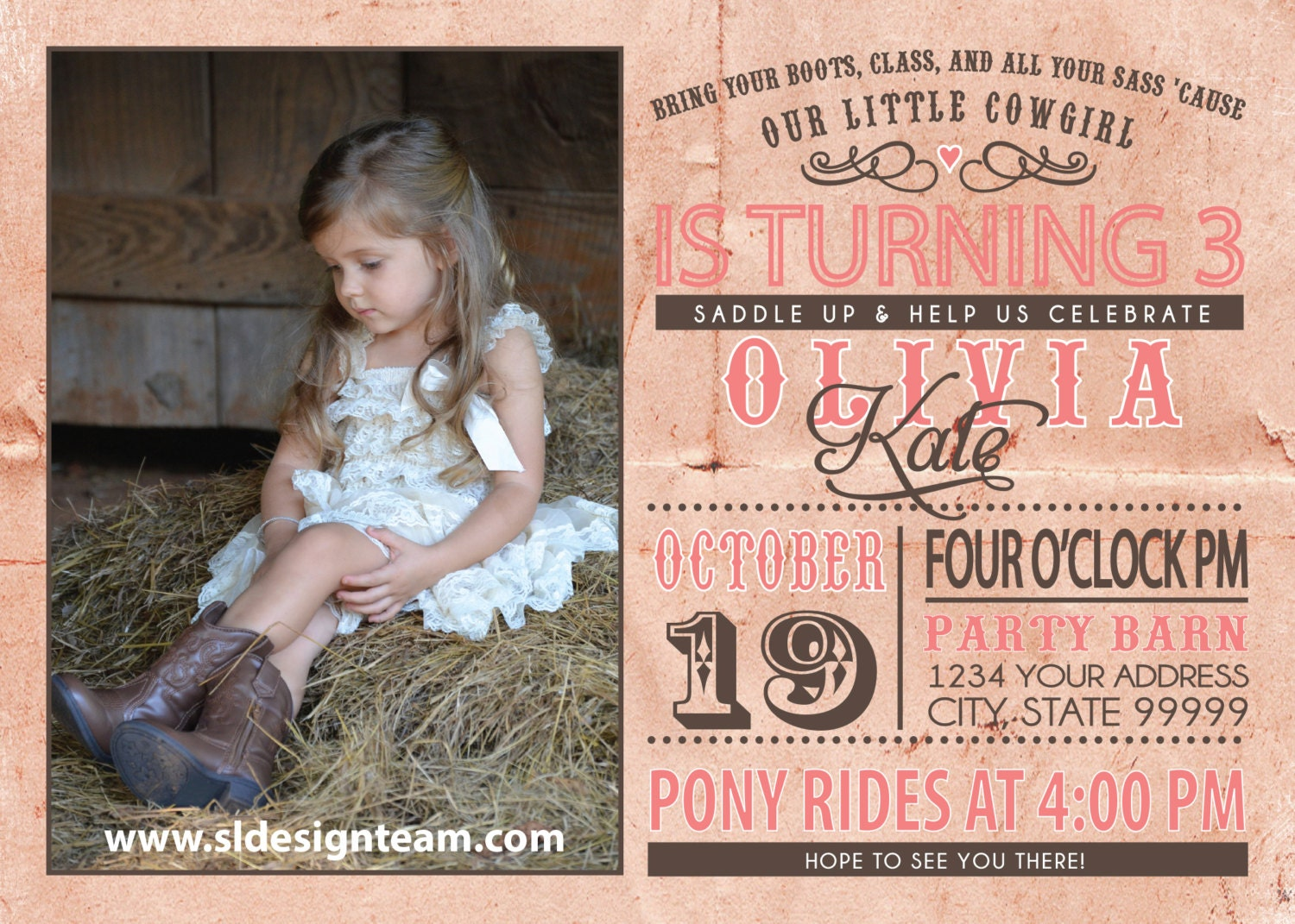 cowgirl birthday party invitation photo, Party invitations