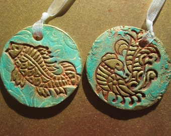 Golden Bird or Fish Hanging, Ornament, Wall Decor // Stamped Pottery /Clay / Ceramic with Gilders Paste