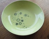 Reduced-Set of 4 Mid Century Bowls-Yellow with blue flowers