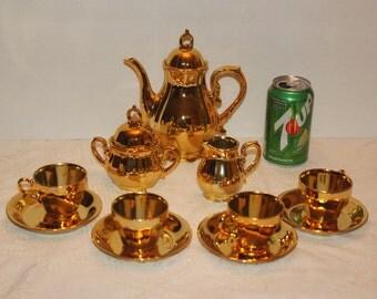 Beautiful Vintage gold Demi-Tasse Musical Tea / Coffee Set -
