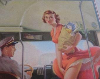 1940s pin up girl, lithograph pin up girl poster