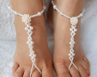 Barefoot Sandals Beach Wedding   Yoga Shoes Foot Jewelry  White Beads and Ivory Flowers