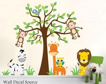 Nursery Jungle Wall Decals, Animal Wall Decals, Nursery Wall Decals, Tree Wall  Decal Part 63