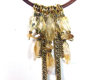 Citrine Drops Leather Necklace Bohemian Boho Luxe Jewelry