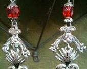 Vintage  Mexican Oaxacan Silver Heart Earrings
