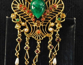 Gold Plated Vintage Costume Brooch With Cool Look