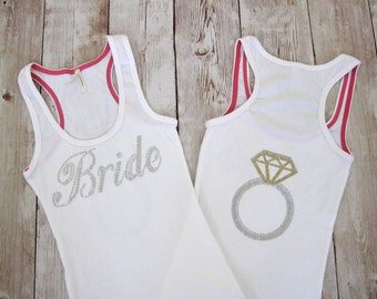 Bride Tank Top Shirt with Ring on back. Bridal Party Rhinestone Shirts. Wedding Gift. Bachelorette Hen Party. Wifey, Just Married