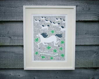 A3 contemporary grey horses print, children's wall art