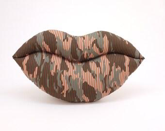 Funky Urban Woodland Camo Smooch - Decorative Lips Shaped Pillow - Small Size