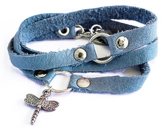Blue leather bracelet - triple wrap with dragonfly charm