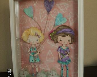 Shabby chic Gingermelon paper doll shadow box