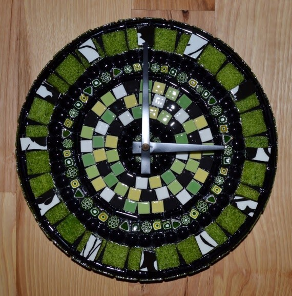 Green, Black, and White Round Mosaic Clock