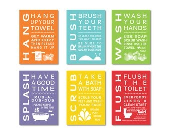 Childrens Kids Bathroom Art Print Set of (6) Fine Art Home Decor 4 x 6 OR 5 x 7 Each Print - Wash Brush Flush ...