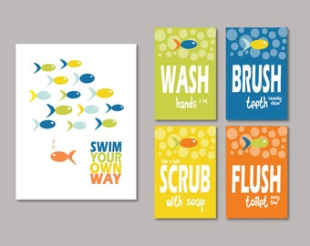 Kids Bathroom Art Prints - Swim Your Own Way, Splash, Wash, Brush, Flush Set of (5) - 8 x 10 and 5 x 7's // Childrens Kids Bathroom